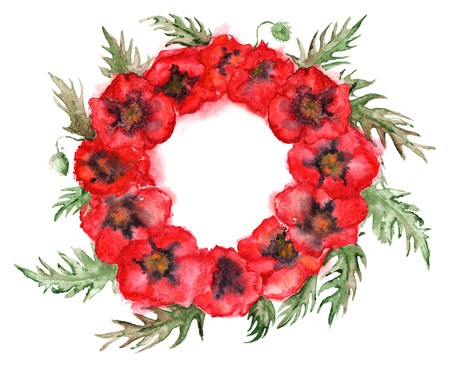 red poppy: Watercolor red poppy flower floral wreath isolated.
