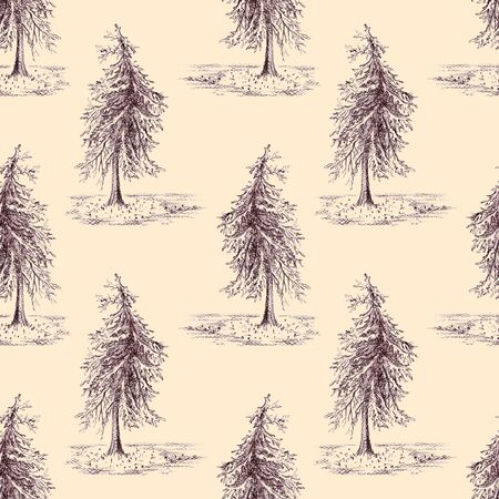 spruce: Sketched spruce pine tree sepia seamless pattern background.