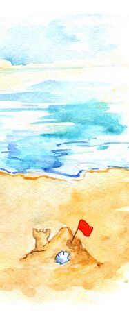 Watercolor summer travel beach sea shore sand castle.