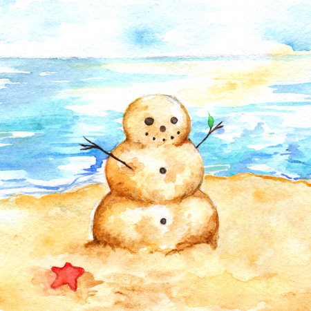 Watercolor summer travel beach sea shore sandman.
