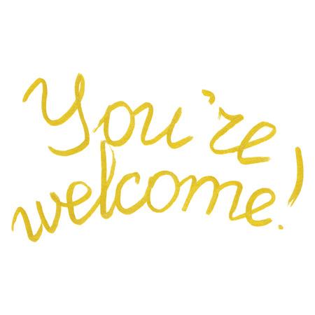 Sie sind willkommen, gold Wortphrase Schriftzug Typographie isoliert. Standard-Bild - 60795913