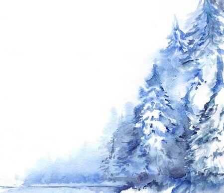 Watercolor winter snowy pine wood forest landscape. Stock fotó
