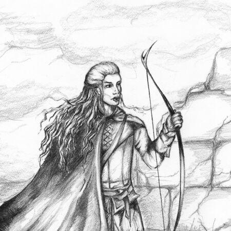 archer: Medieval archer hunter bowman monochrome pencil sketch. Stock Photo