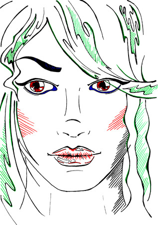 black hair blue eyes: Sketched line art neon fashion girl portrait vector.