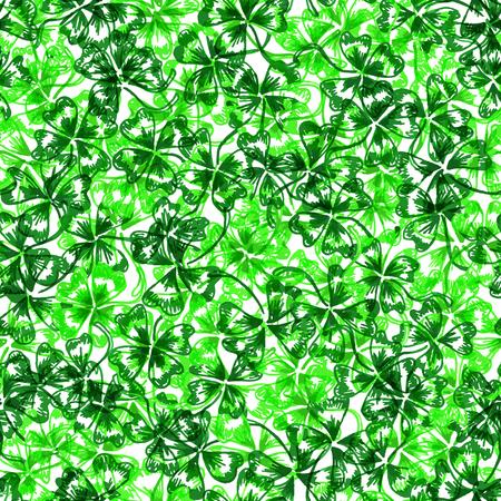 shamrock seamless: Doodle green clover shamrock Saint Patricks Day seamless pattern. Stock Photo