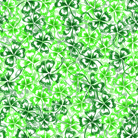 trifolium: Doodle green clover Saint Patricks Day vector seamless pattern. Illustration