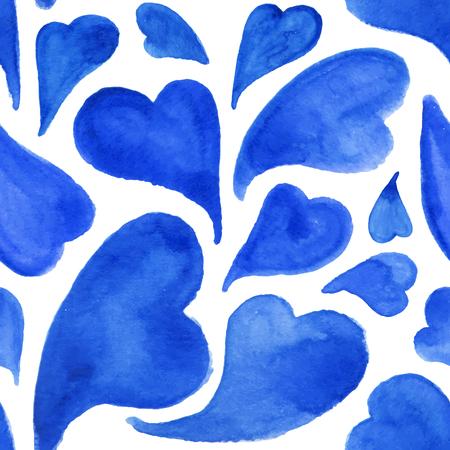 corazones azules: Acuarela corazones azules sin patr�n vector del d�a de San Valent�n.