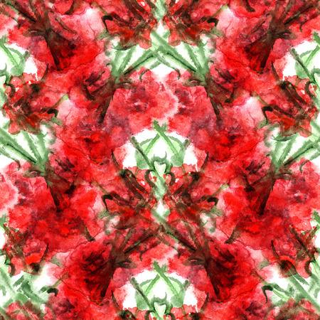 clove: Watercolor carnation clove red flower seamless pattern texture.