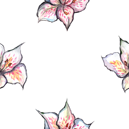 Watercolor alstroemeria floral seamless pattern textile background.
