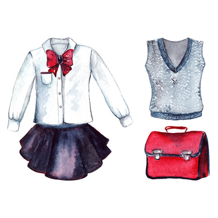 school form: School clothes pupil uniform form fashion look set isolated.