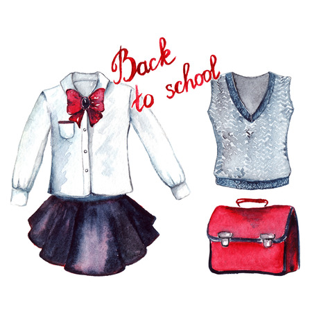 set form: School clothes pupil uniform form fashion look set isolated.