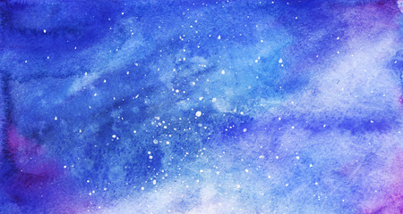 sky: Watercolor colorful starry space galaxy nebula background.