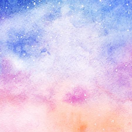 水彩のカラフルな星空空間銀河星雲の背景。