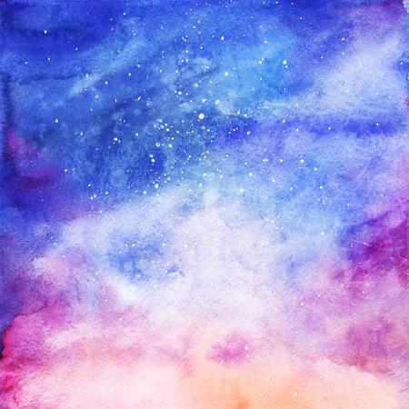 Acuarela de colores de fondo nebulosa galaxia del espacio estrellado. Foto de archivo