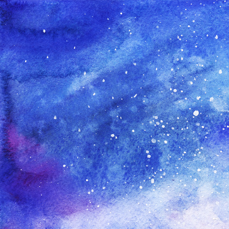 Watercolor colorful starry space galaxy nebula background.