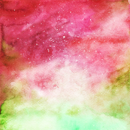 red sky: Watercolor colorful starry space galaxy nebula background.
