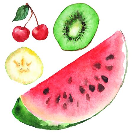 berry fruit: Watercolor banana kiwi cherry watermelon berry fruit set isolated vector.