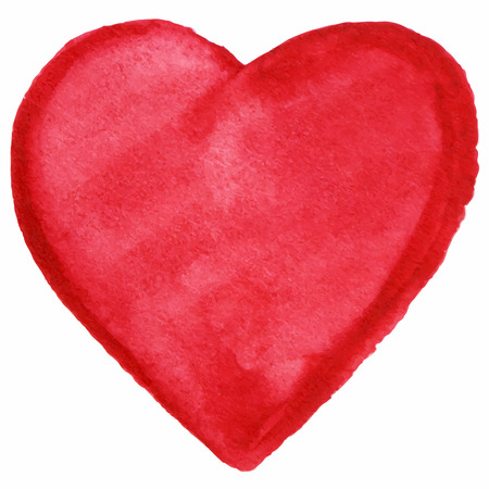 scarlet: Watercolor red heart love symbol icon isolated vector.