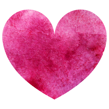 Watercolor pink heart love symbol isolated vector. Illustration