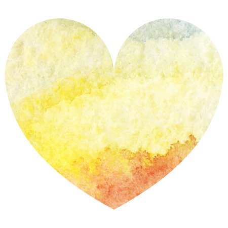 Watercolor yellow sand sea sky heart love symbol isolated vector.
