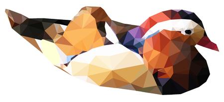 mandarin: Triangle geometric mandarin duck bird animal isolated vector.