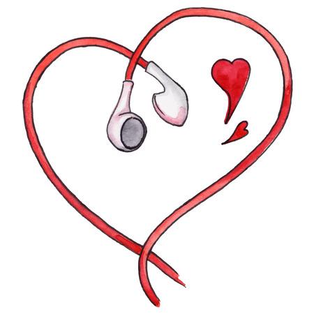 earphones: Red earphones heart shaped love music isolated vector. Illustration