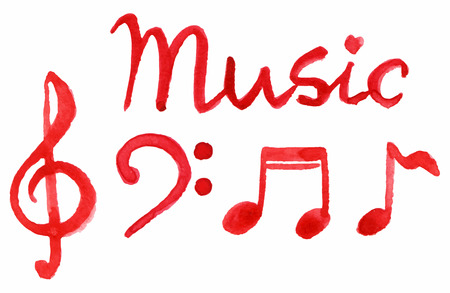 Red notes music symbol set isolated vector. Illustration