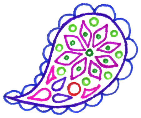 Paisley buta hand drawn colorful doodle isolated vector. Illustration