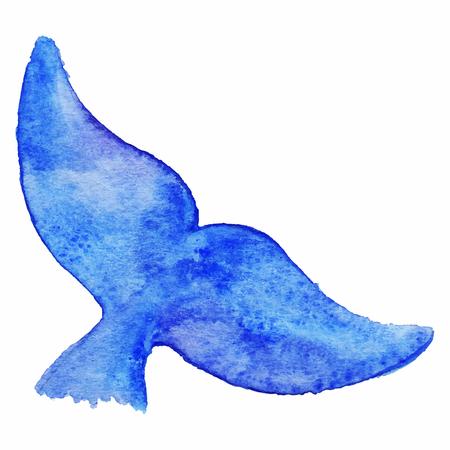 aislado de la acuarela azul ballena cola de los animales bajo el agua del vector.