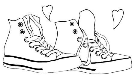 shoelaces: Black and white monochrome sneakers shoes hearts love isolated vector.