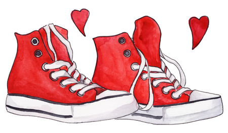 Watercolor red sneakers pair shoes hearts love isolated vector.