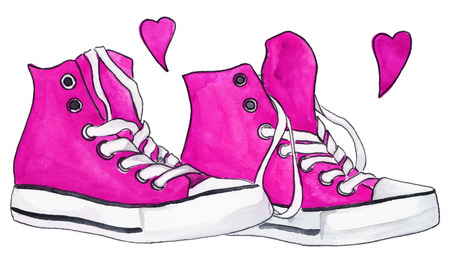 crimson: Watercolor pink crimson sneakers pair shoes hearts love isolated vector.