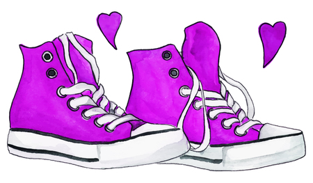 black youth: Watercolor purple crimson sneakers pair shoes hearts love isolated vector. Illustration