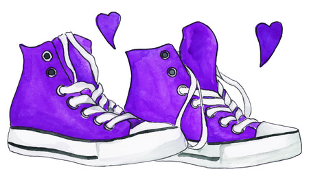 purple shoes: Watercolor violet purple sneakers pair shoes hearts love isolated vector.