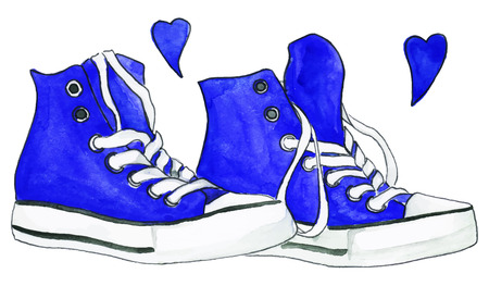 Watercolor navy blue sneakers pair shoes hearts love isolated vector. Illustration