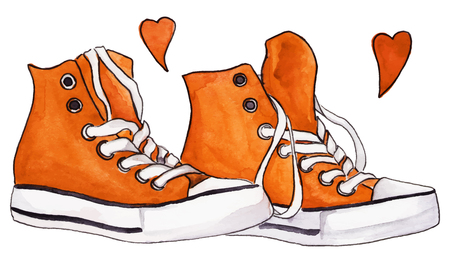 black youth: Watercolor orange sneakers pair shoes hearts love isolated vector. Illustration