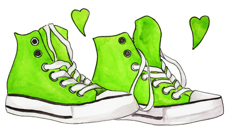 neon green: Watercolor neon green sneakers pair shoes hearts love isolated vector.