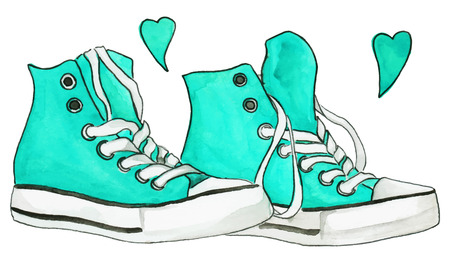 Watercolor mint blue sneakers pair shoes hearts love isolated vector. Illustration