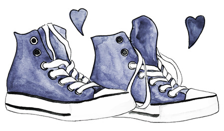 Watercolor indigo denim sneakers pair shoes hearts love isolated vector.
