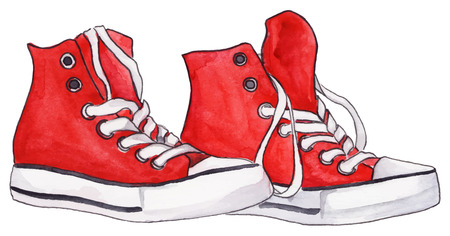 shoelaces: Watercolor red sneakers pair shoes isolated vector.