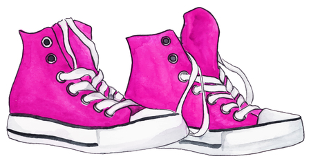 shoelaces: Watercolor pink crimson sneakers pair shoes isolated vector. Illustration