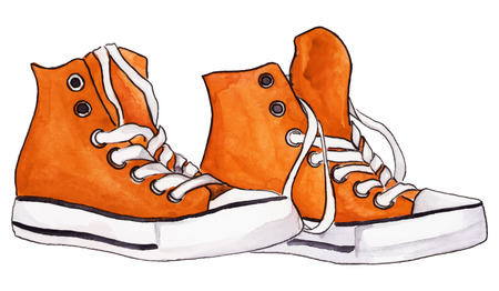 Watercolor orange sneakers pair shoes isolated vector.