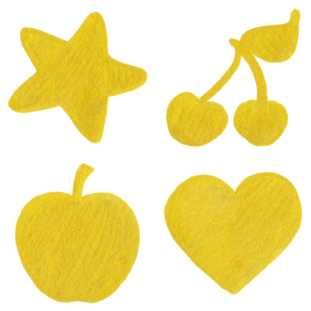 golden apple: Golden yellow velvet star cherry apple heart symbol set isolated.