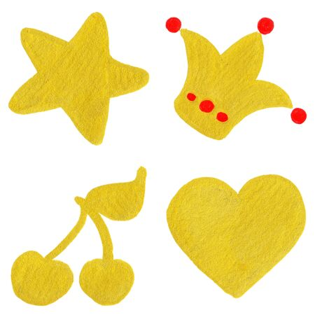 yellow crown: Golden yellow velvet star crown cherry heart symbol set isolated. Stock Photo