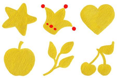golden apple: Golden yellow star crown heart apple branch cherry symbol set. Stock Photo