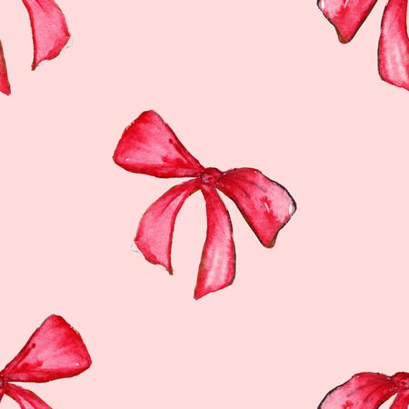 lazo rosa: Watercolor red pink bow tape ribbon gift seamless pattern background.