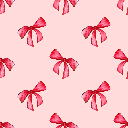 pink bow: Watercolor red pink bow tape ribbon gift seamless pattern background.