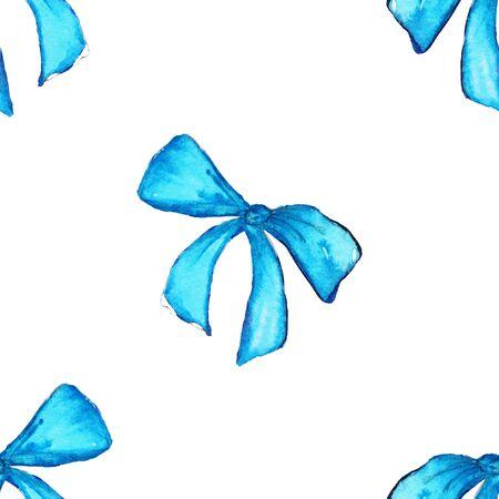 zafiro: Acuarela regalo de la cinta azul cian cinta sin fisuras patrón de textura de fondo. Foto de archivo