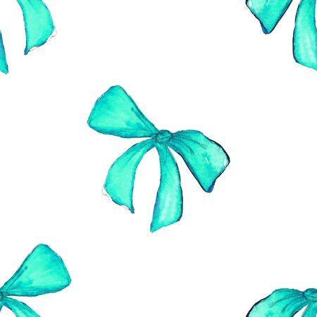 Watercolor blue cyan turquoise tape ribbon gift seamless pattern background.