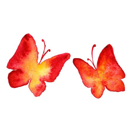 butterfly in hand: Watercolor red yellow butterfly hand drawn set isolated. Stock Photo